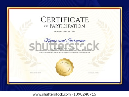 certificate template sport theme blue border stock vector royalty