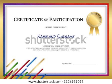 certificate template sport theme border frame stock vector royalty