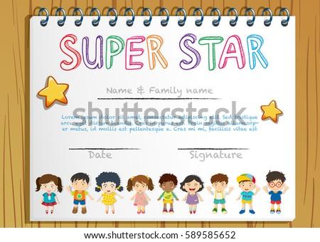 Certificate Template Super Star Illustration Stock Vector Royalty