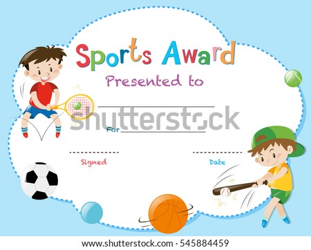 Certificate Template Two Boys Playing Sports Stock Vector Royalty