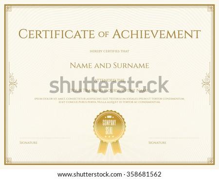 certificate template vector achievement graduation completion の
