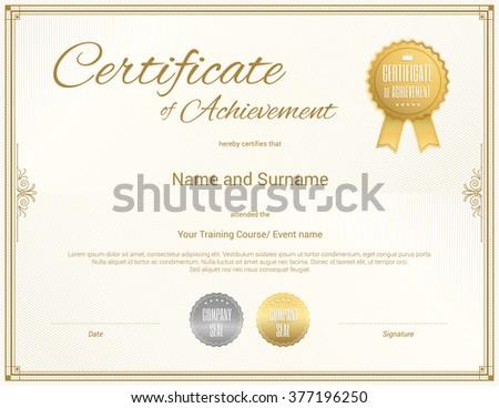 Certificate Template Vector Achievement Graduation Completion Stock ...