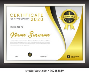 certificate template vector illustration, diploma layout in a4 size, gold business flyer design, advertisement, printing, achievement, Appreciation, corporate event, certificate layout for business