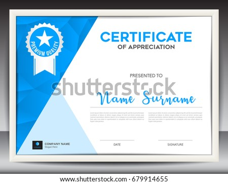 Certificate Template Vector Illustration Diploma Layout Stock Vector