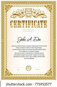 Certificate template with vintage frame border in monochrome color gamma