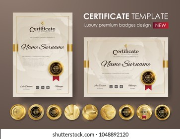 certificate template with vintage pattern,diploma,Vector illustration and vector Luxury premium badges design,Set of retro vintage badges and labels.