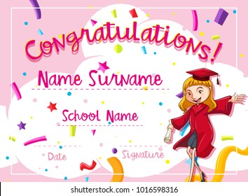 Certificate template with woman in red graduation gown illustration