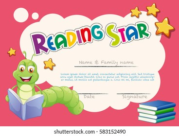 Certificate template with worm reading books illustration