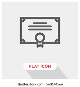 Certificate vector icon, diploma symbol. Modern, simple flat vector illustration for web site or mobile app