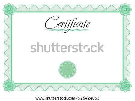Certificate Vector Template Diplomas Currency Size Stock Vector