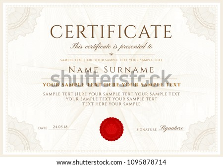 certificate vector template formal secured border stock vector