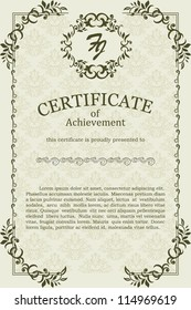 Certificate with vintage floral frame and other design elements