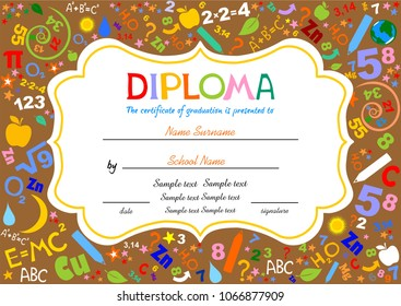 Certificates kindergarten and elementary, Preschool Kids Diploma certificate background design template, Diploma template for kindergarten students, Certificate of kids diploma. vector illustration