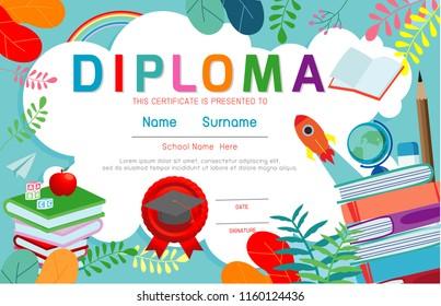 certificates kindergarten elementary preschool kids diploma vector