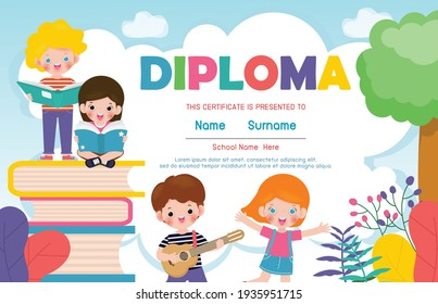 Certificates kindergarten and elementary, Preschool Kids Diploma certificate background design template, Diploma for students, back to school with school kids reading book isolated vector illustration