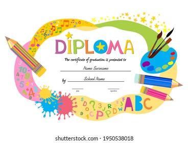 Certificates kindergarten and elementary, Preschool Kids Diploma certificate background design template, Diploma template for kindergarten students, Certificate of kids diploma. vector illustration
