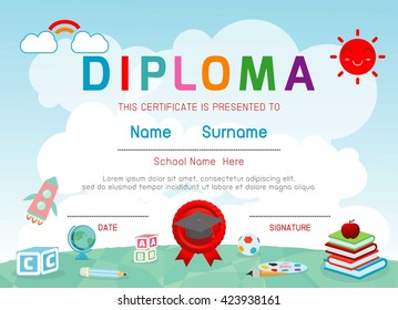School certificate stock images royalty free images vectors certificates kindergarten and elementary preschool kids diploma certificate background design template diploma template for yadclub Image collections