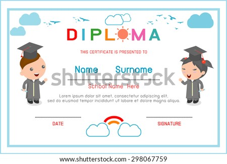 certificates kindergarten and elementary preschool kids diploma certificate elementary school