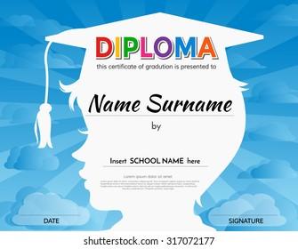 Certificates kindergarten and elementary  school diploma certificate design template background