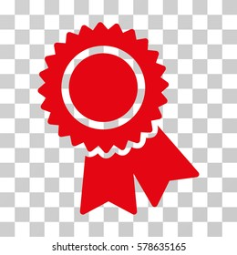 Certification icon. Vector illustration style is flat iconic symbol, red color, transparent background. Designed for web and software interfaces.