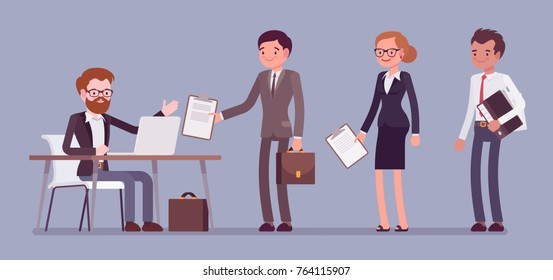 Certification official act. Organization certifying product proving quality, people searching for document proof, seeking for job qualification. Vector flat style cartoon business concept illustration