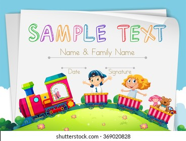Certification template with children on the train illustration