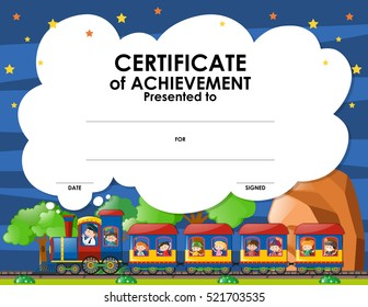 Certification template with kids on the train illustration