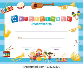 Certification template with musical instruments illustration