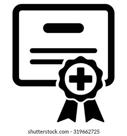 Certification vector icon. Style is flat symbol, black color, rounded angles, white background.