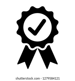 Certified or approved ribbon with checkmark /check mark flat vector icon for apps and websites