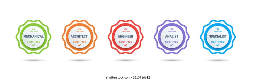 Certified badge logo design for company training badge certificates to determine based on criteria. Set bundle certify colorful vector illustration.