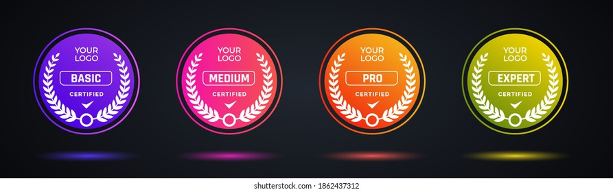 Certified badge logo design for company training badge. Certificates to determine based on criteria. Set bundle certify colorful modern vector illustration.