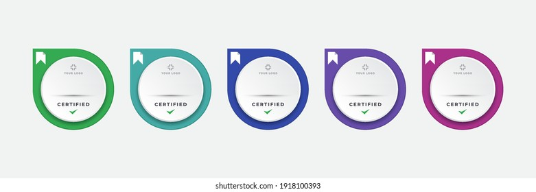 Certified digital badge logo design template. Future of IT certification for corporate project brand. Set modern icon vector illustration.