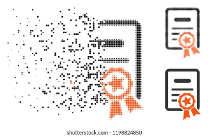 Certified diploma icon in disappearing, dotted halftone and undamaged solid versions. Elements are arranged into vector disappearing certified diploma icon. Disappearing effect uses square dots.