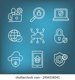 Certified Ethical Hacking icon set showing virus, exposing vulnerabilities, and hacker
