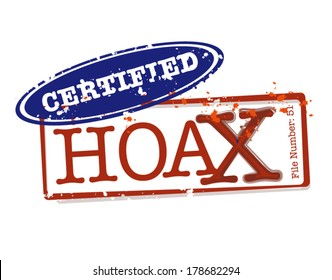 Certified Hoax Stamps in Vector for varied supernatural tales and popular paranormal events. Editable Clip Art.