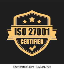 Certified iso 27001 emblem on black background