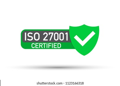Certified iso 27001 sticker. Certification stamp. Flat design. Vector stock illustration.