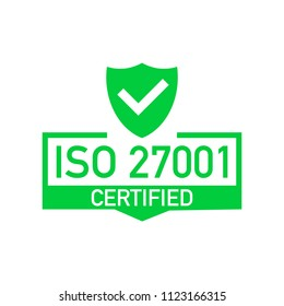 Certified iso 27001 sticker. Vector stock illustration.