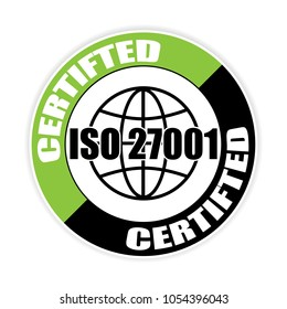 Certified iso 27001 sticker,vector illustration