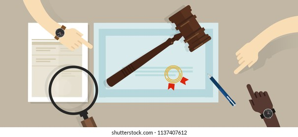 Certified legal auditor lawyer education paper. gavel on paper symbol of law. vector flat illustration
