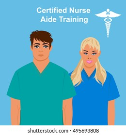 Certified  nurse aide training concept, vector illustration