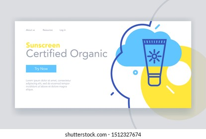 Certified organic cosmetics landing page vector template. Sunscreen creams webpage design layout with linear illustration. Skincare products. Cosmetic store website, color web banner idea
