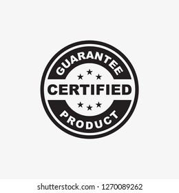 certified product guarantee stamp icon template in black color