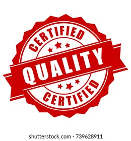 Certified quality business label on white background