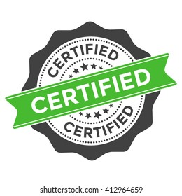 Certified Stamp Vector Icon - Badge, Seal with green ribbon