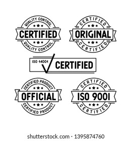 Certified stamps set. Original Certified Official ISO 9001 design collection. Vector illustration.