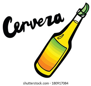 Cerveza Bottle Beer with Lime Wedge