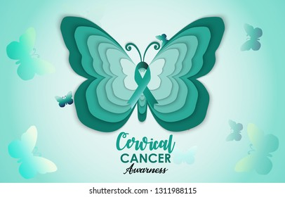 Cervical Cancer Awareness green paper cut butterfly web banner for support and health care. Template for Infographics or Websites Magazines.  Flat Cancer Awareness Month. Vector illustration.
