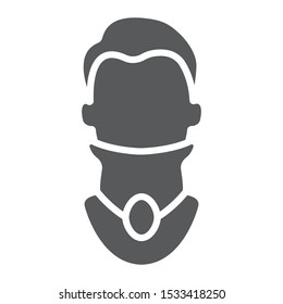 Cervical collar glyph icon, orthopedic and medical, neck bandage sign, vector graphics, a solid pattern on a white background, eps 10.